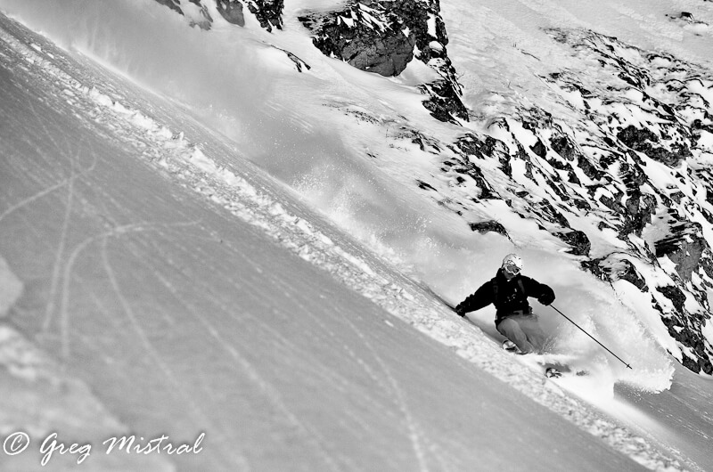 skier going down a slope off piste