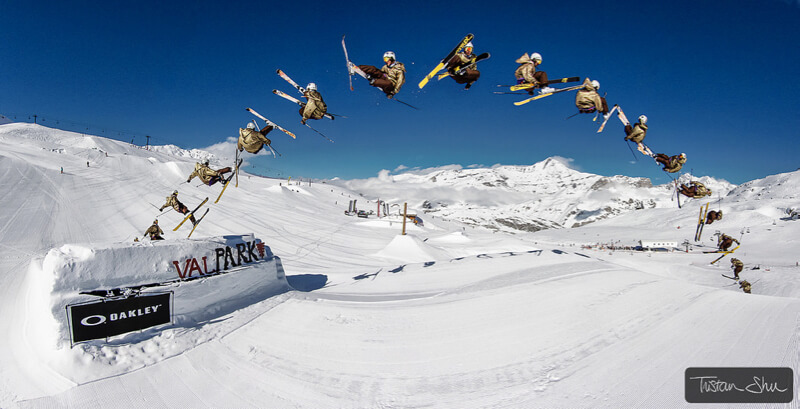 skier doing kangaroo flip