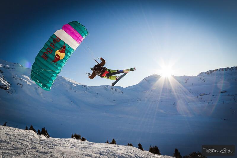 Skier with paraglider