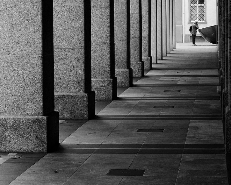 columns and long hallway