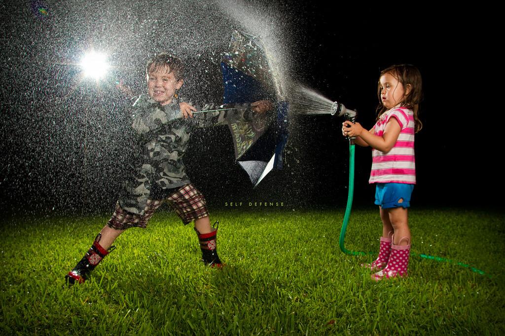 water hose portrait