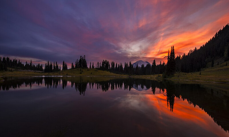 Sunset at Tipsoo Lake, Mt Rainier NP