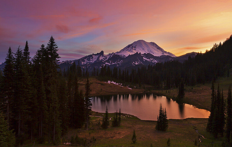 Tipsoo Lake at Sunset Mt Rainier NP, WA