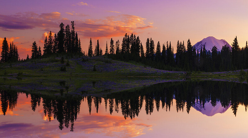Tipsoo Lake at Sunset, Mt Rainier NP, WA