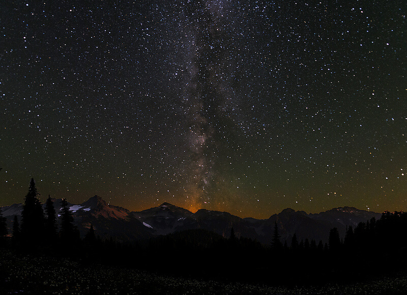 Milky Way over Tatoosh Range Mt Rainier NP at Night