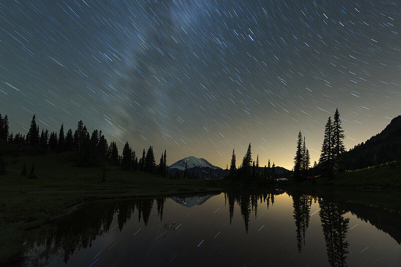 Star Trails reflected in Tipsoo Lake Mt Rainier