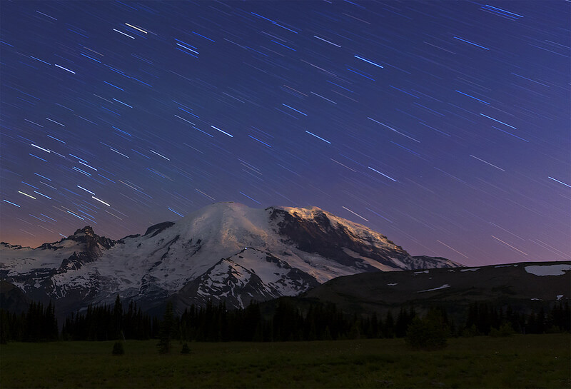 Star Trails over Mt Rainier