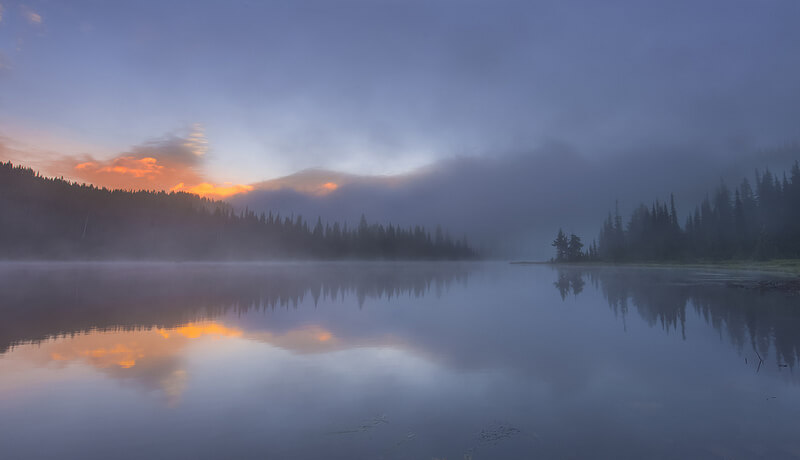 Foggy Morning Reflection Lake, Mt Rainier NP