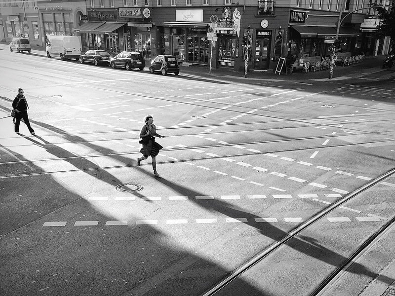 running across street Berlin