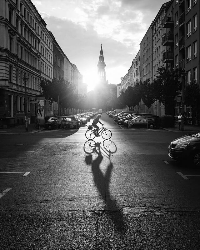 black and white sunset Berlin