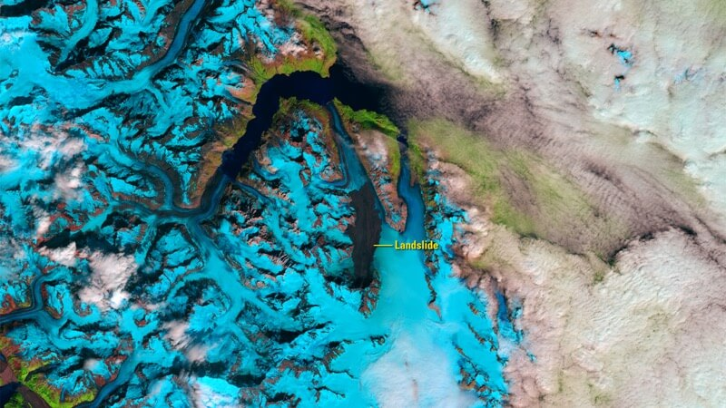 Landslide in Glacier Bay National Park and Preserve, Alaska after