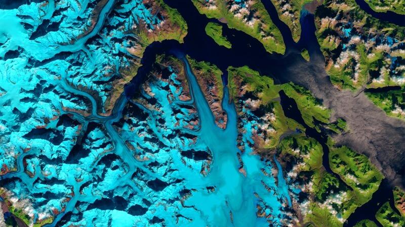 Landslide in Glacier Bay National Park and Preserve, Alaska before