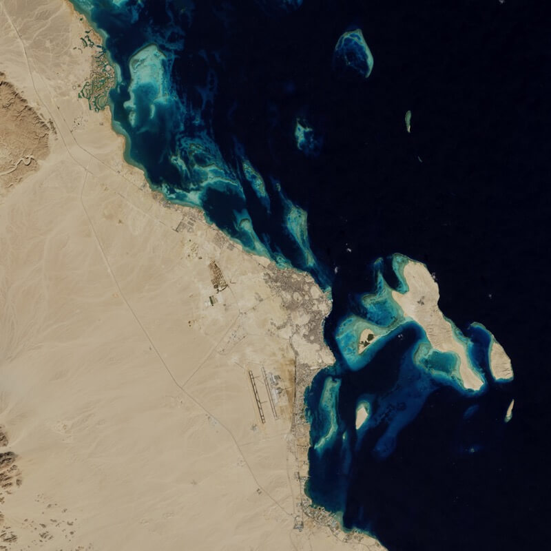 Urban growth in Hurghada, Egypt after