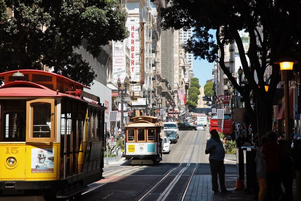 torbakhopper - down on powell street in the summer : cable cars, san francisco