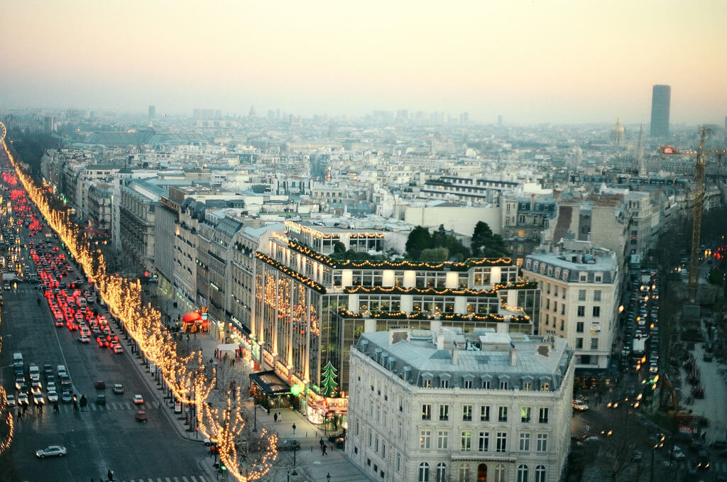View of Champs Elysees from the Arc de Triomphe / Christmas in Paris 1996