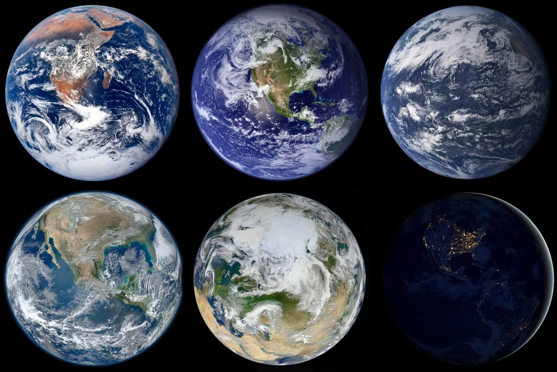 Earth: Blue Marble - Astronaut photograph 1972, Blue Marble 2002, Aqua Marble 2005, Blue Marble 2012, White Marble 2012, Black Marble 2012