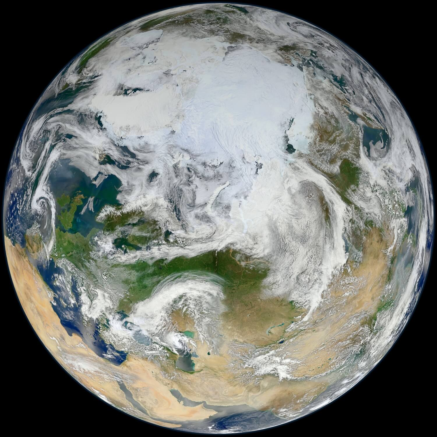 Earth - Blue Marble 2012 - White Marble Arctic View