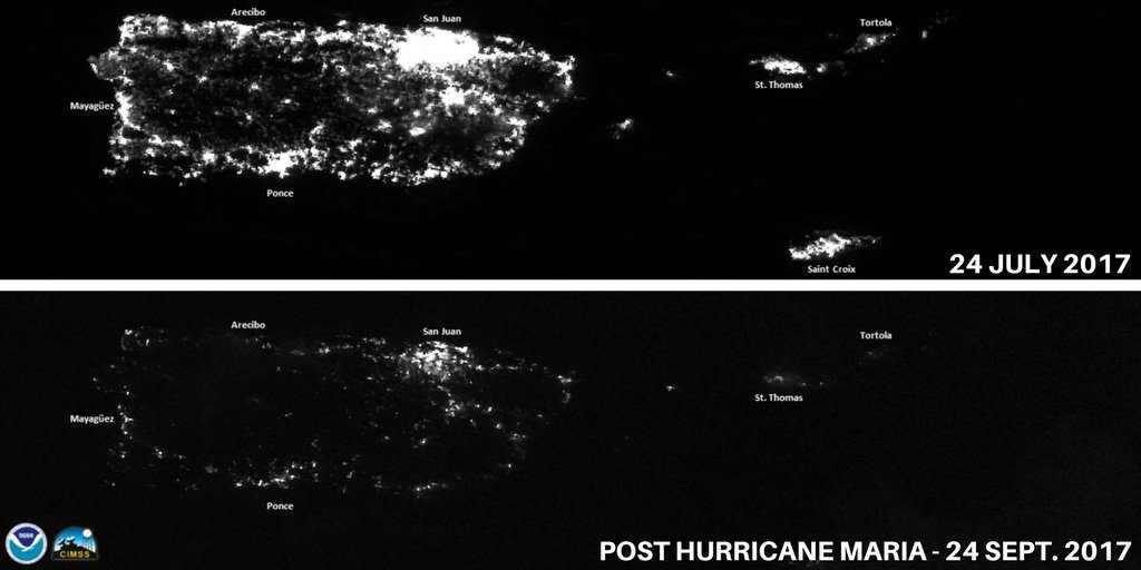 night satellite images of puerto rico