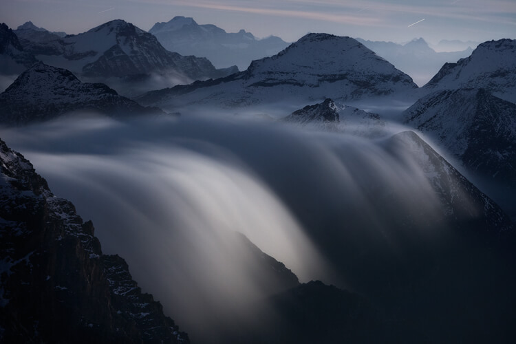 Rivers of Clouds at Moonlight alps