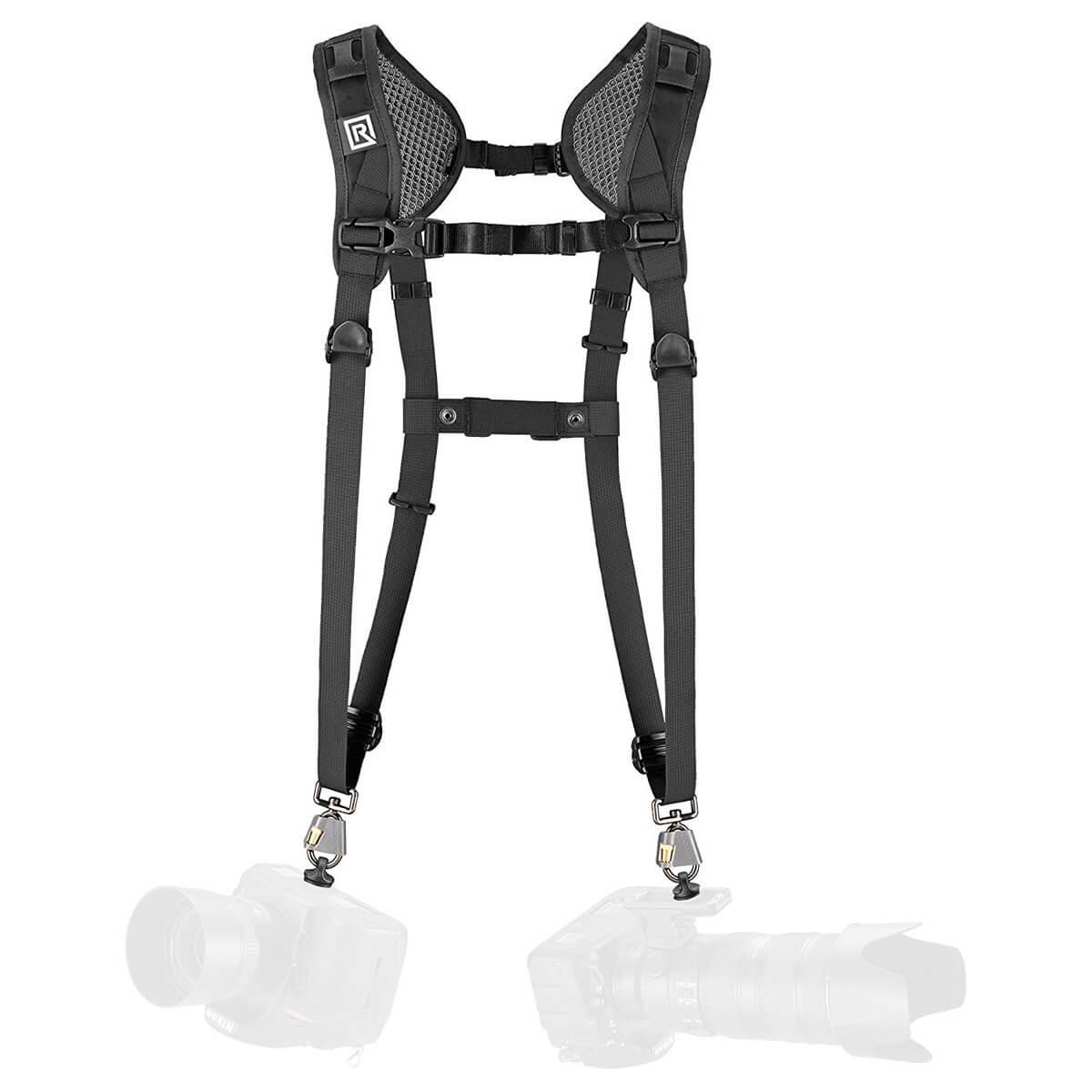 black rapid breathe double camera harness