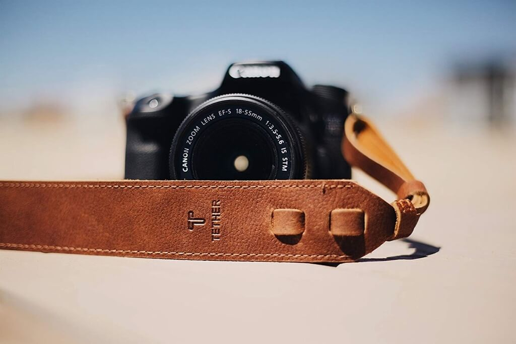 TETHER's Brown Leather Camera Strap