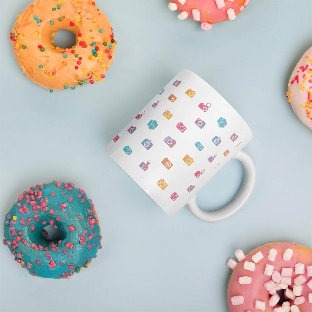 rainbow camera mug