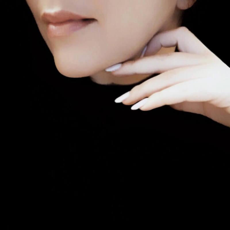 chin hand lips