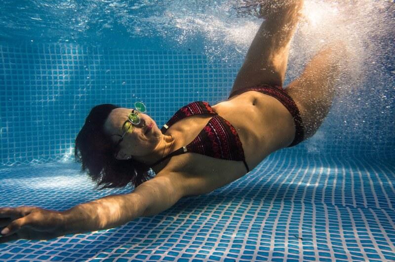 portrait in pool
