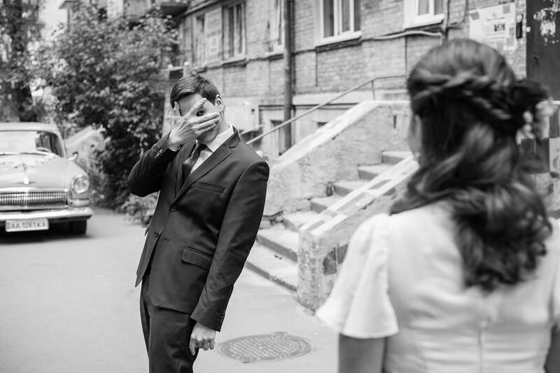 Maksym Kaharlytskyi groom sees bride