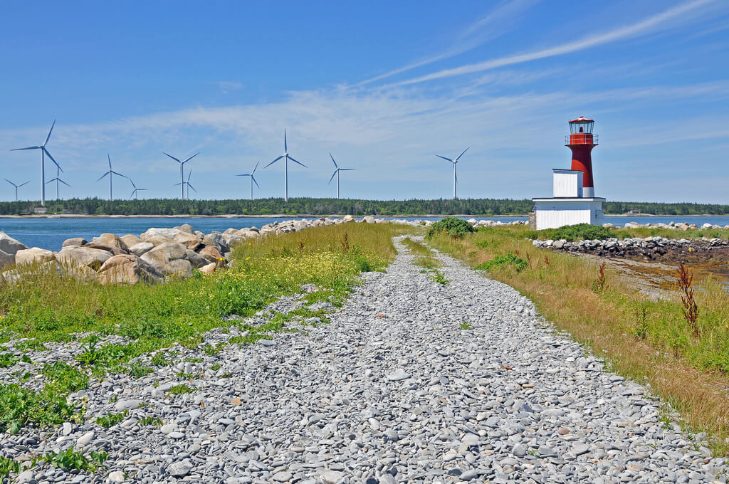 Dennis Jarvis - Pubnico Harbour Lighthouse and Wind farm