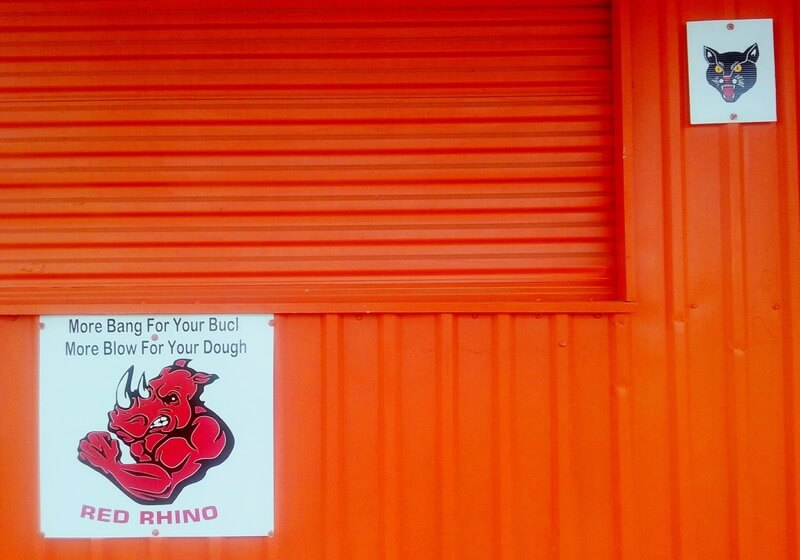 Gilbert Mercier - Advertisement for Red Rhino and Black Cat firecrackers