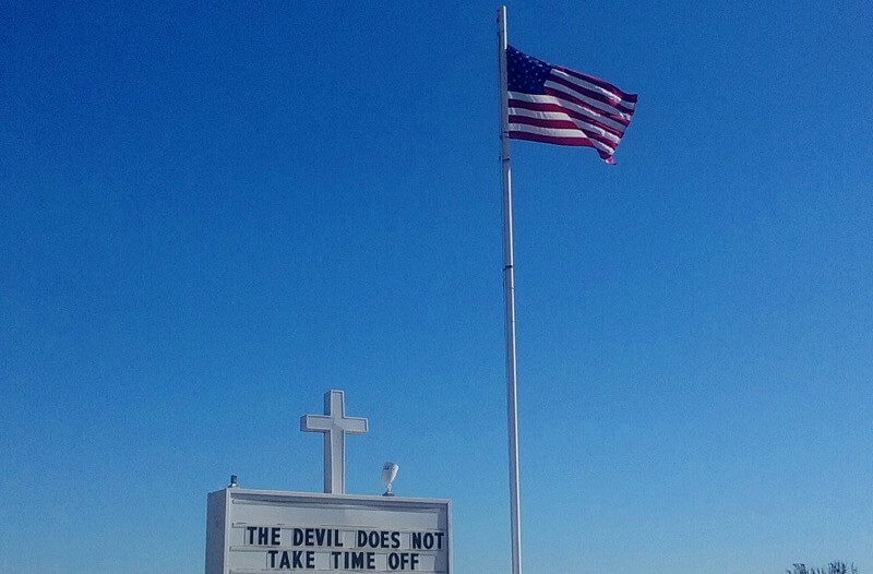 Gilbert Mercier - Cross, Sign and US flag