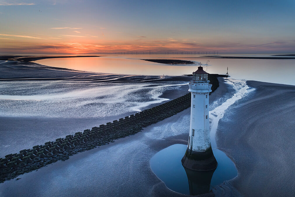 Perch Rock Drone Sunset