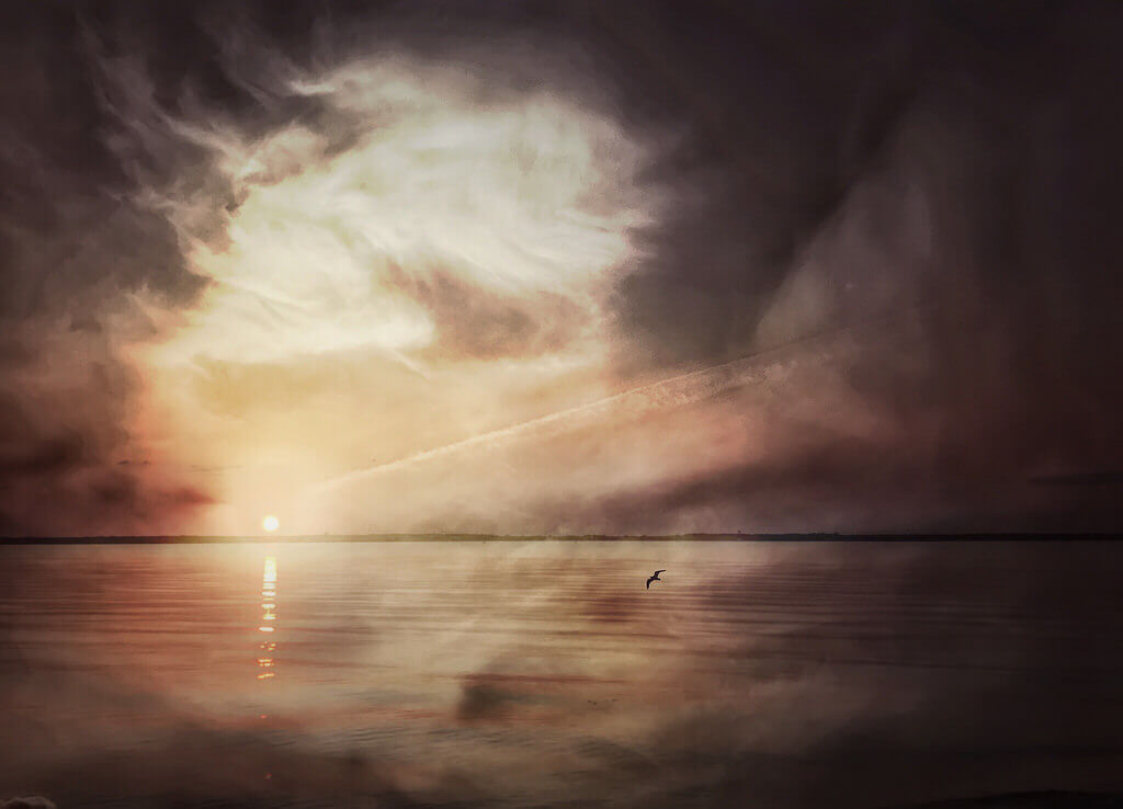James Loesch - Double Exposure Barnegat Bay sunset