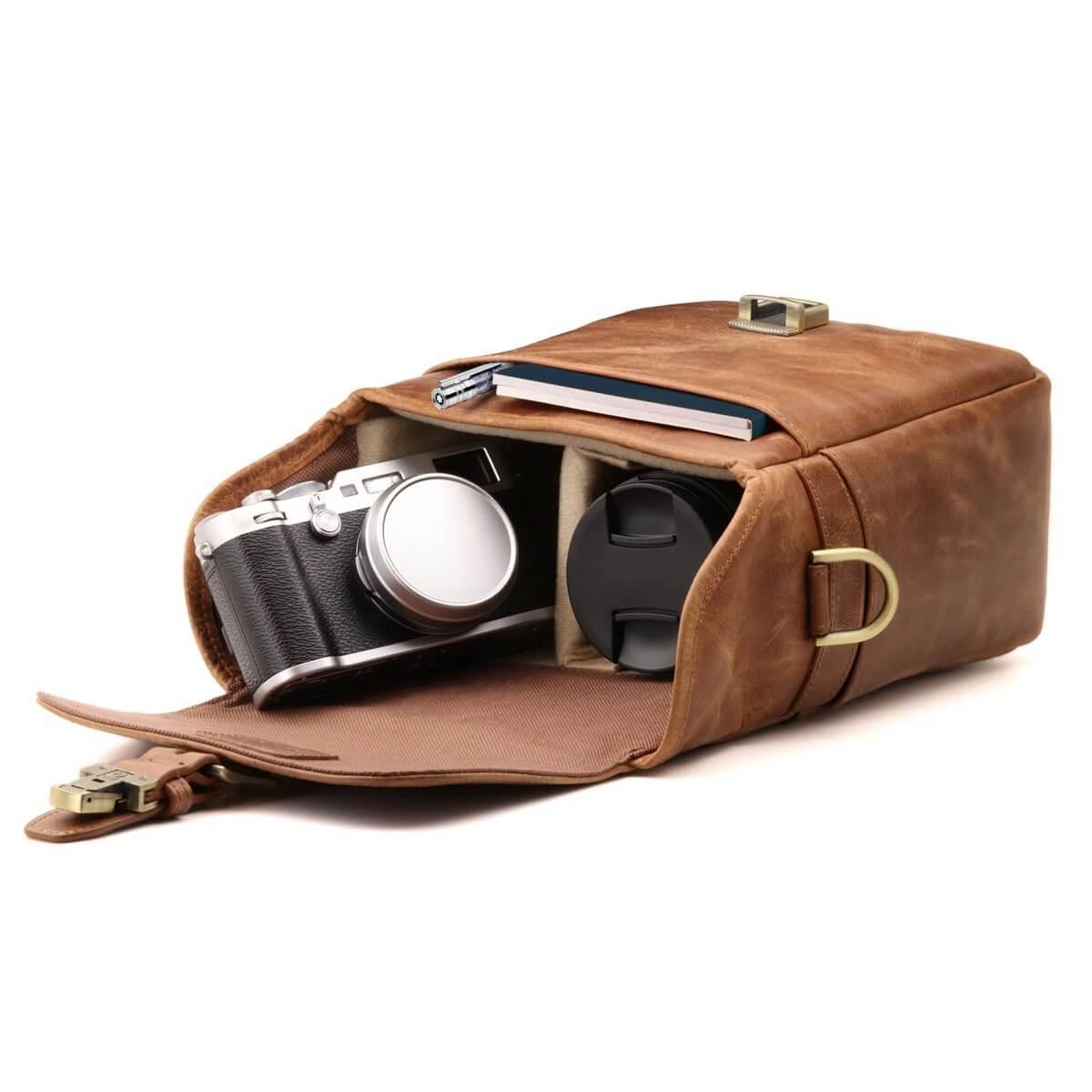 Megagear Genuine Leather Camera Messenger Bag