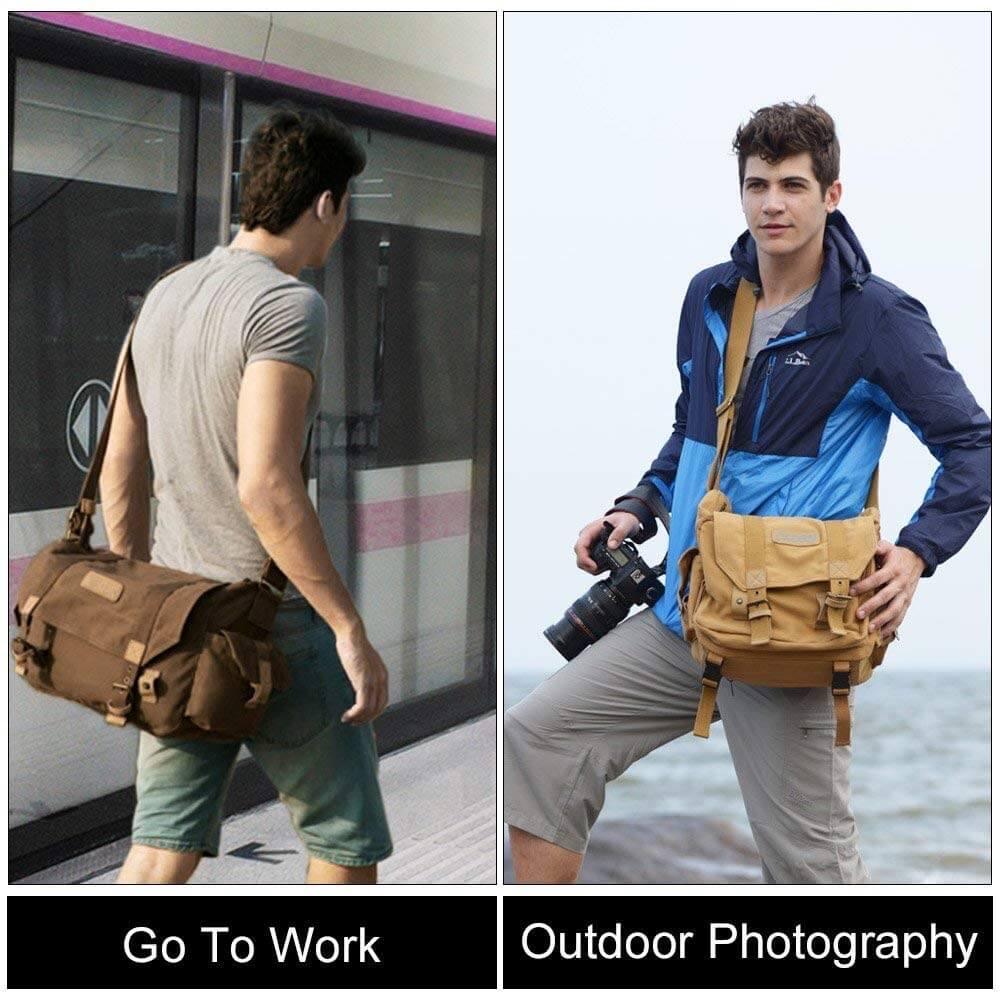 CADeN Waterproof Canvas Camera Messenger Bag