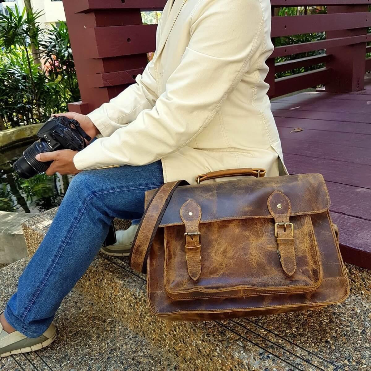 Purple Relic Leather DSLR Camera Bag