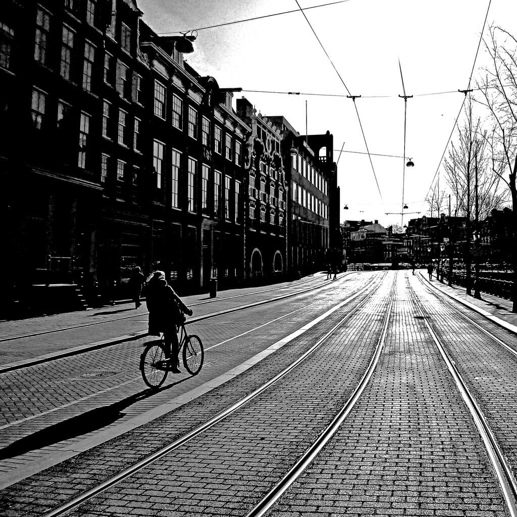 cyclist in Amsterdam, Netherlands
