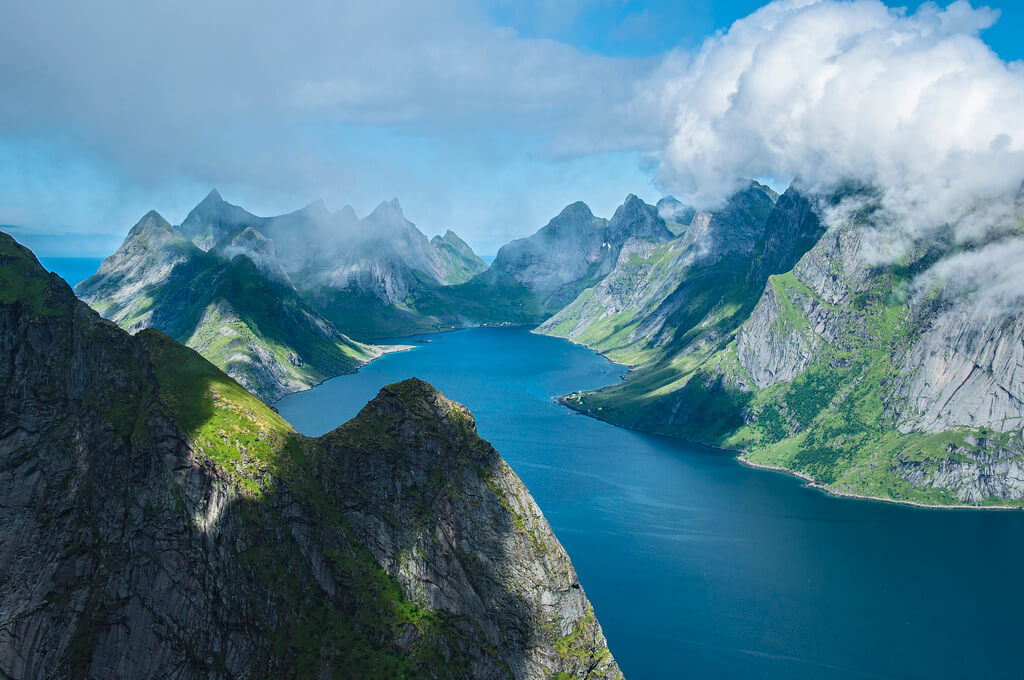 Lofoten seen from the Reinebringen peak