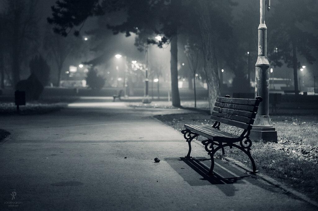 Yane Naumoski - park bench in fog