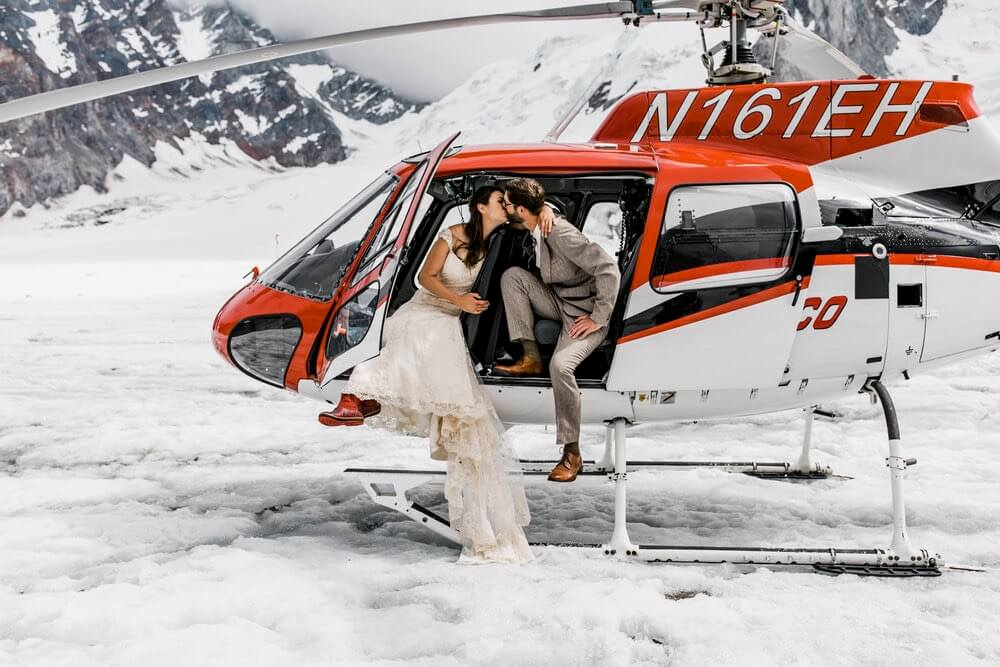 Hearnes Elopement Photography - Denali National Park Helicopter Tour Wedding Glacier Landing