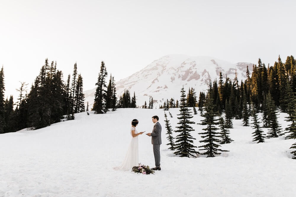Hearnes Elopement Photography - Mount Rainier National Park Wedding Snowy