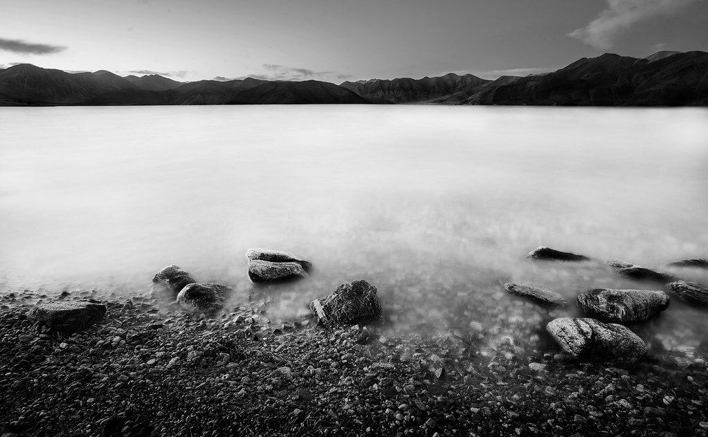 Nimit Nigam - High Contrast black and white lake