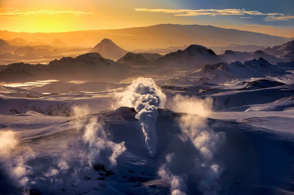 Ragnar TH Sigurdsson - Winter sunset, Geothermal Area steaming, Hrafntinnusker, Central Highlands, Iceland