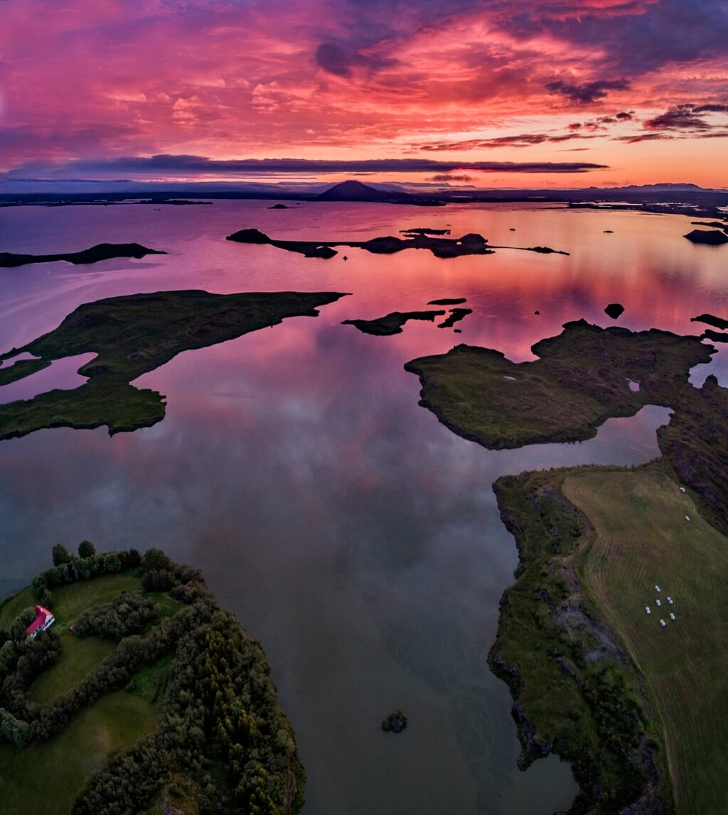 Ragnar TH Sigurdsson - Midnight sun, Midsummer colourful skies over Lake Myvatn, Mt. Vindbelgur Northern Iceland