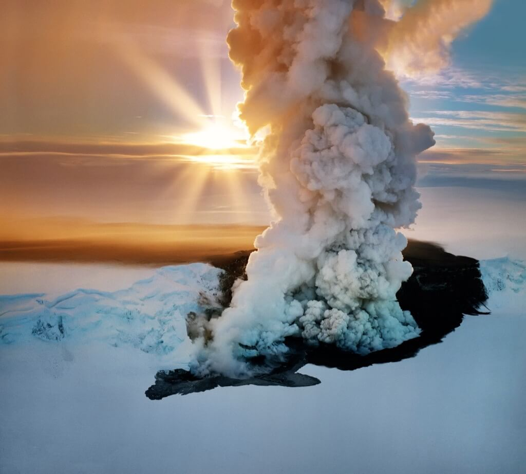 Ragnar TH Sigurdsson - Winter sunset with Grimsvatn Volcano Erupting, Vatnajokull Ice Cap, Vatnajokull National Park, Unesco World Heritage Site, Iceland