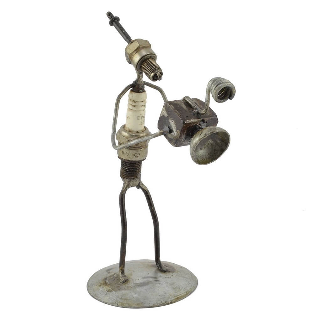 Swahili African Modern Photographer Recycled Spark Plug Metal Sculpture