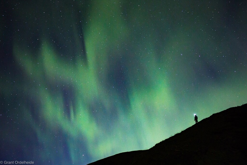 Grant Ordelheide - A person enjoys the northern lights over Denali National Park in Alaska