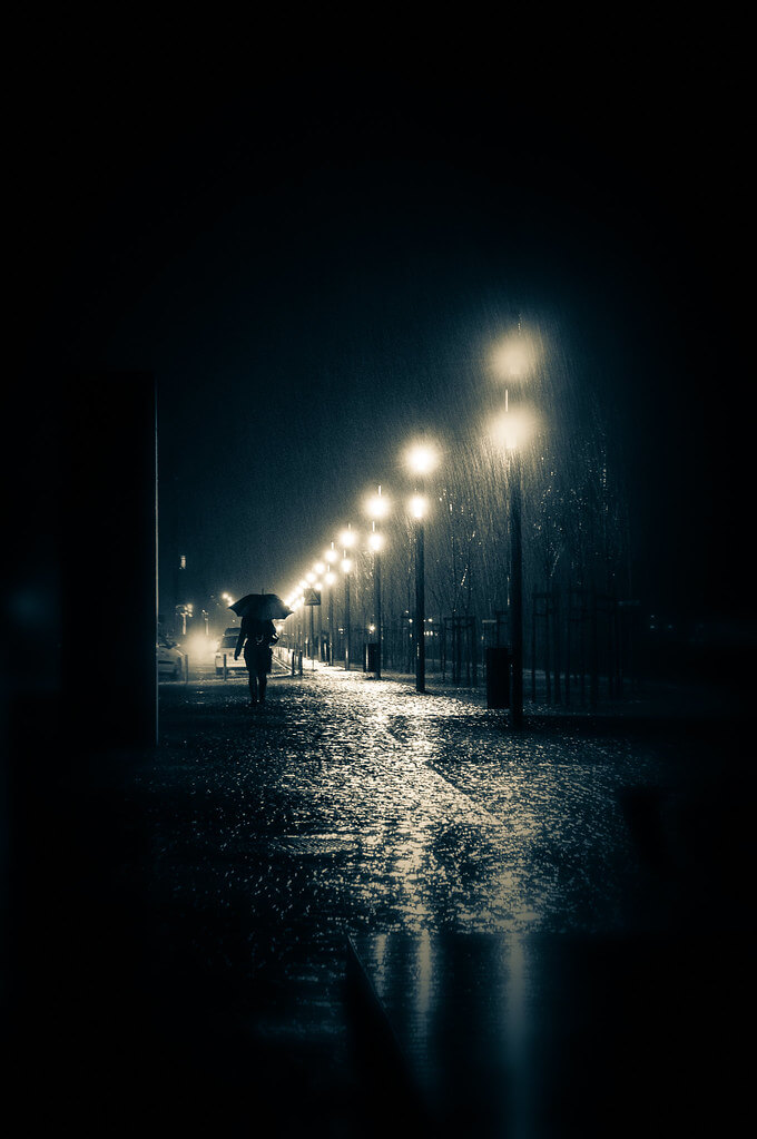 Joao Cruz Santos - street lamps in rain