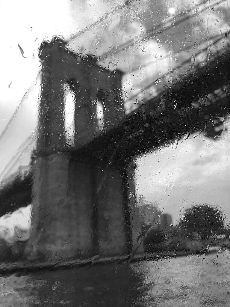 Pat Bianculli - Brooklyn Bridge as seen through a rain-soaked window on the NYC Ferry